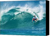 Surfing Canvas Prints - Pro Surfer Gabriel Medina Surfing in the Pipeline Masters Contes Canvas Print by Paul Topp