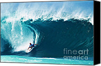 Coast Tapestries Textiles Canvas Prints - Pro Surfer Kelly Slater Surfing in the Pipeline Masters Contest Canvas Print by Paul Topp
