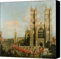 Architecture Painting Canvas Prints - Procession of the Knights of the Bath Canvas Print by Canaletto