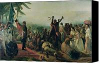 Abolitionist Canvas Prints - Proclamation of the Abolition of Slavery in the French Colonies Canvas Print by Francois Auguste Biard