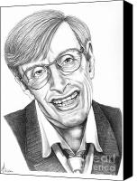 Famous Drawings Canvas Prints - Professor Stephen W. Hawking Canvas Print by Murphy Elliott