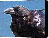 Goth Mixed Media Canvas Prints - Profile of a Raven . Digital Interpretation Canvas Print by Wingsdomain Art and Photography