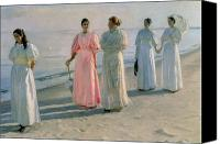 Beach Scenes Canvas Prints - Promenade on the Beach Canvas Print by Michael Peter Ancher