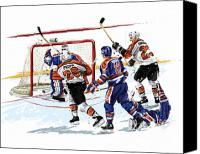 Hockey Goalie Canvas Prints - Propp Scores 1987 Stanley Cup Finals Game 6 Canvas Print by David E Wilkinson