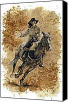 Cowgirl Drawings Canvas Prints - Protecting the Mail Canvas Print by Debra Jones