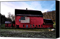 Barn Digital Art Canvas Prints - Proud to be American Canvas Print by Bill Cannon