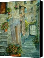 Potted Plants Painting Canvas Prints - Provence Alley Canvas Print by Shirley Braithwaite Hunt