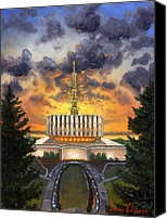 Mormon Painting Canvas Prints - Provo Temple Evening Canvas Print by Jeff Brimley