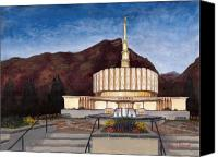 Mormon Painting Canvas Prints - Provo Temple Canvas Print by Jeff Brimley