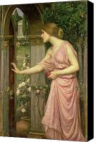 Gown Canvas Prints - Psyche entering Cupids Garden Canvas Print by John William Waterhouse
