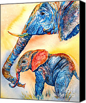 Elephants Canvas Prints - Psychedelephants Canvas Print by Donna Martin