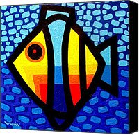 Psychedelic Canvas Prints - Psychedelic Fish Canvas Print by John  Nolan