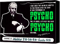 1960s Poster Art Canvas Prints - Psycho, Director Alfred Hitchcock Canvas Print by Everett