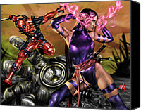 Comic. Marvel Canvas Prints - Psylocke and Deadpool Canvas Print by Pete Tapang