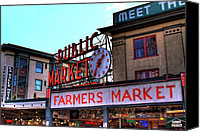 Seattle Tapestries Textiles Canvas Prints - Public Market II Canvas Print by David Patterson