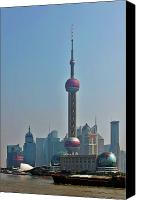 Building Canvas Prints - Pudong Shanghai Oriental Perl Tower Canvas Print by Christine Till