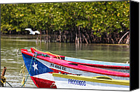Puerto Rico Canvas Prints - Puerto Rican Fishing Boats Canvas Print by George Oze