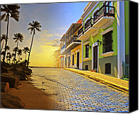 Palm Trees Canvas Prints - Puerto Rico Collage 2 Canvas Print by Stephen Anderson