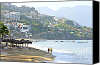 Umbrellas Canvas Prints - Puerto Vallarta beach Canvas Print by Elena Elisseeva