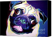 Rainbow Tapestries Textiles Canvas Prints - Pug - Rider Canvas Print by Alicia VanNoy Call
