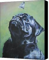 Puppy Canvas Prints - Pug black  Canvas Print by L A Shepard
