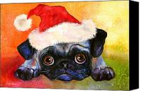 Cute Drawings Canvas Prints - Pug Santa Portrait Canvas Print by Svetlana Novikova