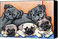 Vet Canvas Prints - PUGS Party Of Five Canvas Print by Kim Niles