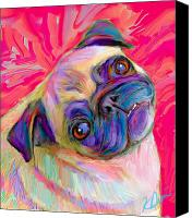 Dog Canvas Prints - Pugsly Canvas Print by Karen Derrico