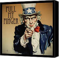 Flagg Canvas Prints - Pull My Finger Poster Canvas Print by Tim Nyberg
