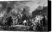 4th Canvas Prints - Pulling down the statue of George III Canvas Print by War Is Hell Store