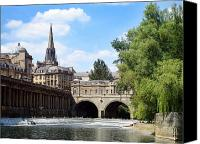 Postcard Photo Canvas Prints - Pulteney bridge and weir Canvas Print by Jane Rix