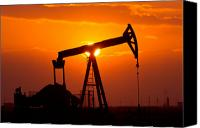 Energy Canvas Prints - Pumping Oil Rig At Sunset Canvas Print by Connie Cooper-Edwards