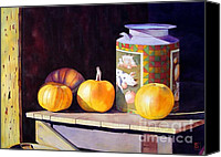 Halloween Painting Canvas Prints - Pumpkiins At Collier Farm Canvas Print by Robert Hooper
