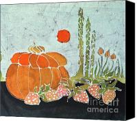 Rural Scenes Tapestries - Textiles Canvas Prints - Pumpkin and Asparagus Canvas Print by Carol  Law Conklin