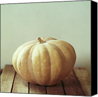 Food And Drink Canvas Prints - Pumpkin On Wooden Table Canvas Print by Copyright Anna Nemoy(Xaomena)