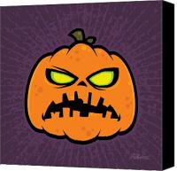 Halloween Digital Art Canvas Prints - Pumpkin Zombie Canvas Print by John Schwegel
