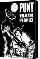 Slash Drawings Canvas Prints - Puny Earth People Canvas Print by Ben Von Strawn