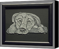 Dogs Glass Art Canvas Prints - Puppy Canvas Print by Akoko Okeyo