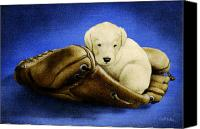 Baseball Painting Canvas Prints - Puppy glove... Canvas Print by Will Bullas