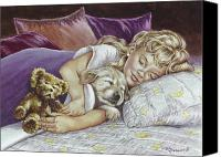 Little Girls Canvas Prints - Puppy Love Canvas Print by Richard De Wolfe