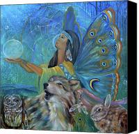 Wolf Painting Canvas Prints - Purification Canvas Print by Sundara Fawn