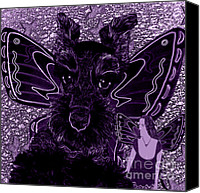 Purple Canvas Prints - Purple and Black Butterfly Pets Schnauzer Canvas Print by Tisha McGee