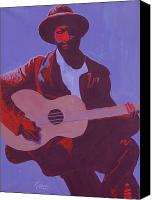 Strum Canvas Prints - Purple Blues Canvas Print by Kaaria Mucherera