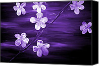 Silver Moonlight Canvas Prints - Purple Cherry Blossom Canvas Print by Mark Moore