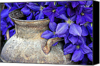 Purple Flowers Digital Art Canvas Prints - Purple Clematis And A Milk Can Canvas Print by James Steele