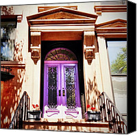 Nyc Canvas Prints - Purple Door - Brooklyn - New York City Canvas Print by Vivienne Gucwa