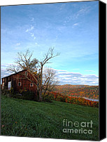 Barn Windows Canvas Prints - Purple Foot and Autumn Leaves Canvas Print by Joshua House