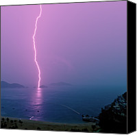 Hong Kong Photo Canvas Prints - Purple Glow Of Lightning Canvas Print by Judi Mowlem