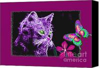Kittens Mixed Media Canvas Prints - Purple Kitten Canvas Print by Tisha McGee