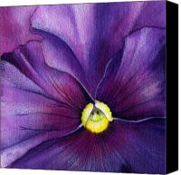 Purple Floral Canvas Prints - Purple Pansy Canvas Print by Mindy Lighthipe
